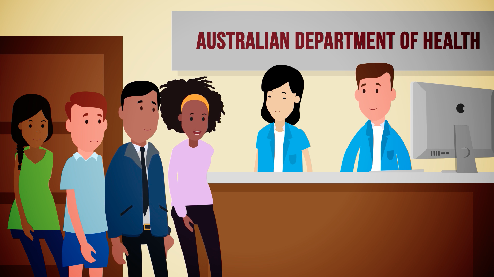 CS A Unit 6 illustration of the Australian Department of Health front desk