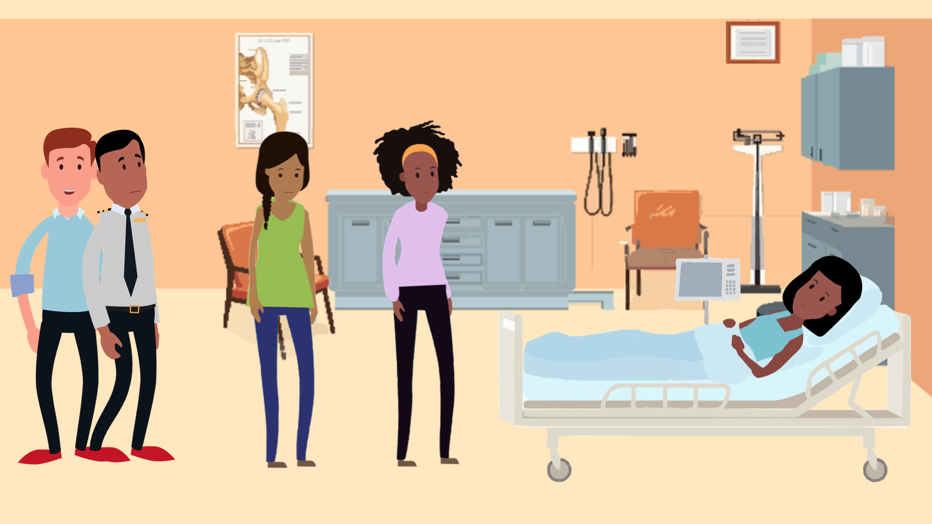 CS A Unit 7 illustration of a patient being visited by friends and family